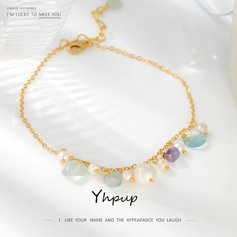 Yhpup Green Natural Stone Exquisite Anklets Leg-chain 2020 Handmade Natural Pearl Korean Metal Charm Jewelry for Women Summer