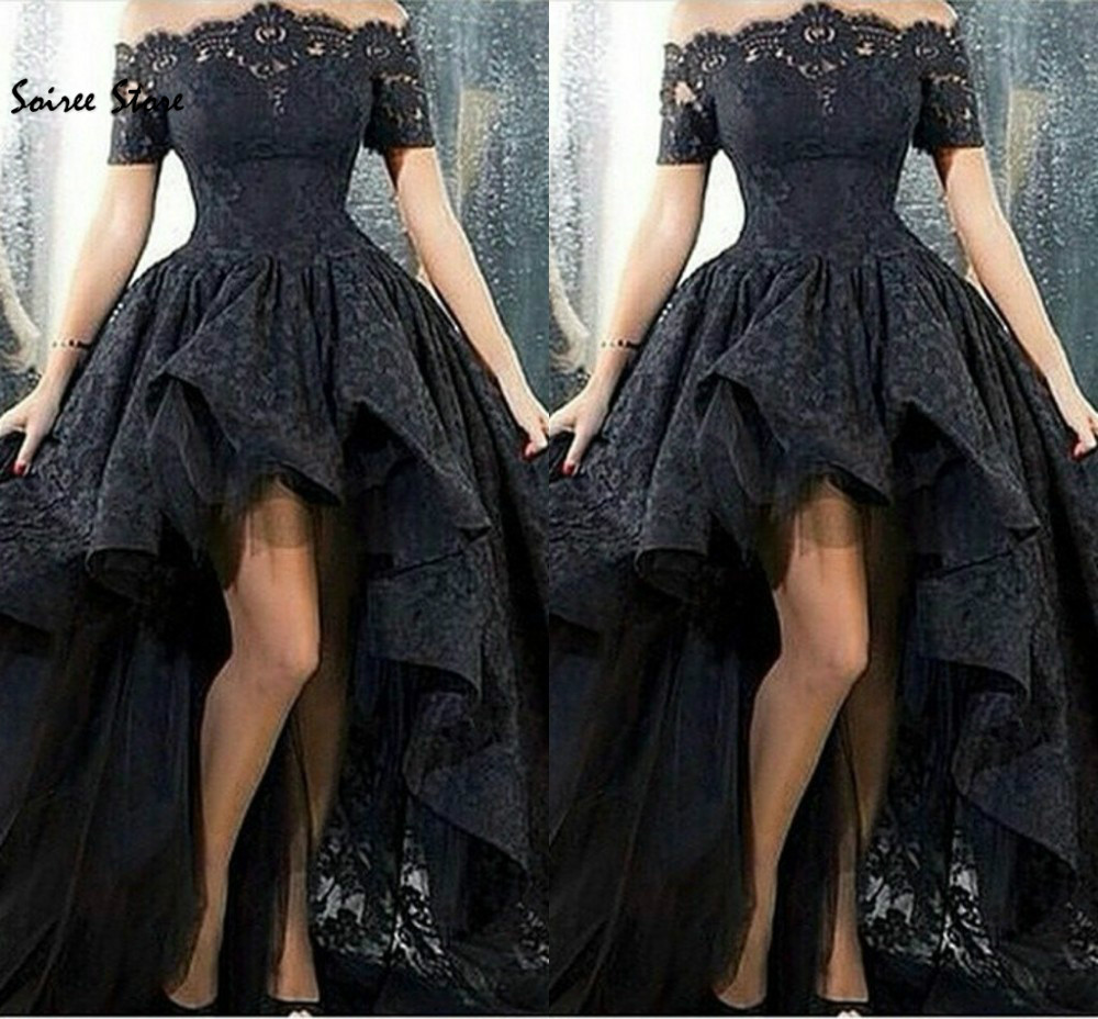Black High Low Lace Prom Dresses Boat Neck Short Sleeves Beach Evening Dress Zipper Nigeria Skirts Special Occasion Graduation
