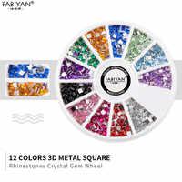 12 Colors 3D Metal Square Flatback Shiny Glitter Rhinestones Crystal Gem Wheel DIY Nail Art Decorations Phone Jewelry Tips Tools