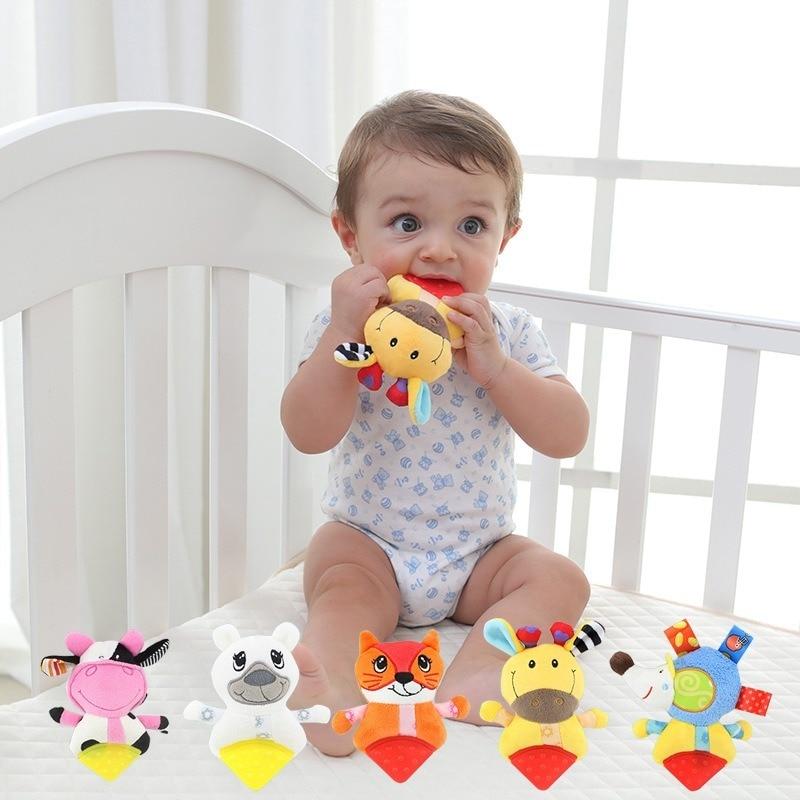 Dolery Animal Teether Hand Rattle Baby Molar Infant Plush Toys Hand Rattle Cartoon Animal Crib Hanging Baby Toys 0 12 Months