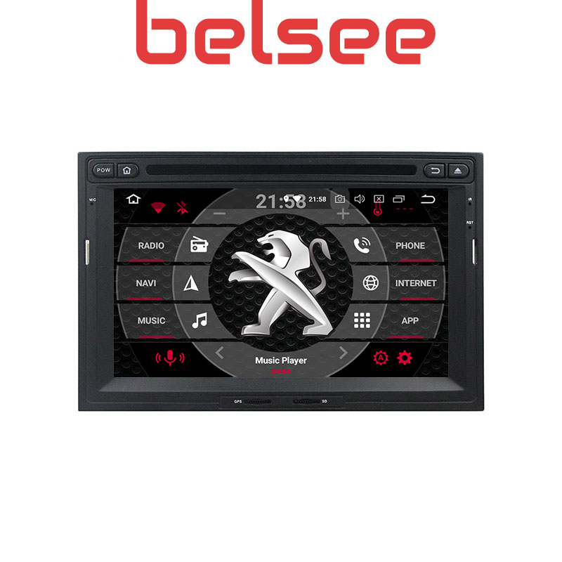 Belsee Car Stereo Radio DVD Player Android 9.0 Autoradio Octa Core Navi for Peugeot 3008 5008 Partner <font><b>Citroen</b></font> <font><b>Berlingo</b></font> 2010-2016 image