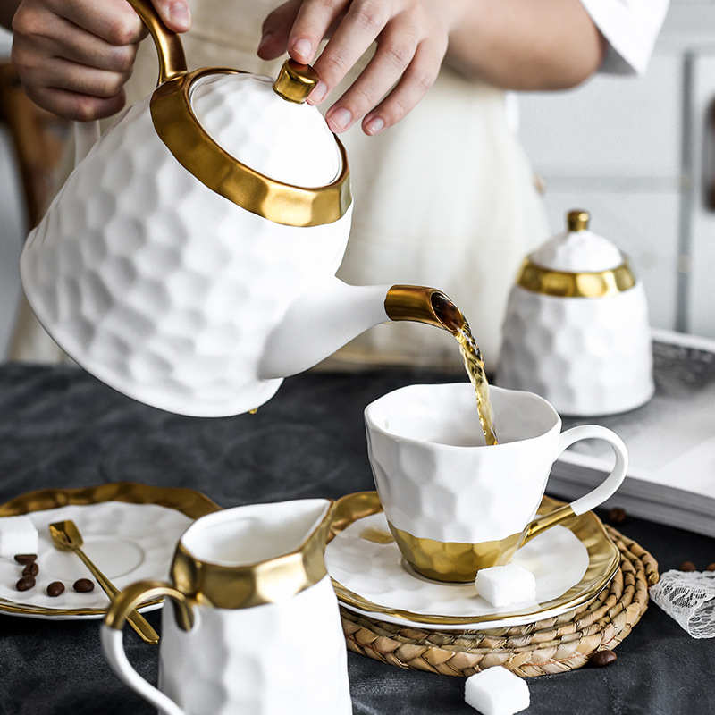 Ceramic Coffee Cup Set Simple Afternoon Teacup Tea Set with European Light Luxury Household Water Cup Teapot for Drinkware - 3