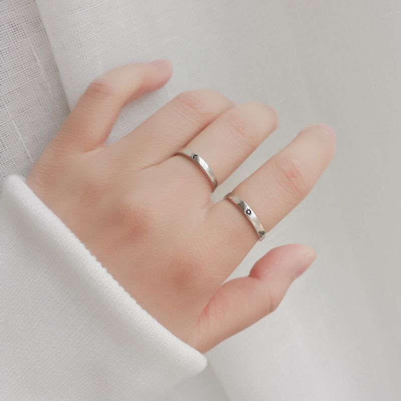 2020 New 2Pcs Sun and Moon Lover <font><b>Couple</b></font> <font><b>Rings</b></font> <font><b>Set</b></font> Promise Wedding Bands for Him and Her image