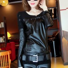 Women Fashion Pu Leather T-shirt Lace Pathwork Long Sleeve Tops Pullover Slim Fit O Neck Faux Leather Tees Shirts Pullover Top(China)