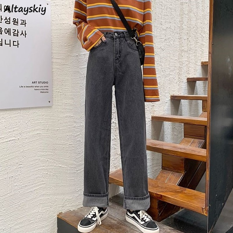 High Waist Jeans Women Black Boyfriend Denim Trousers For Womens Streetwear Vintage Korean Fashion All Match Loose Soft Elastic