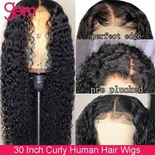 Peluca de cabello humano rizado con encaje Frontal para mujer Peluca de cabello humano brasileño con gema de 30 pulgadas, cierre Remy 4x4, encaje Frontal transparente HD 13x6