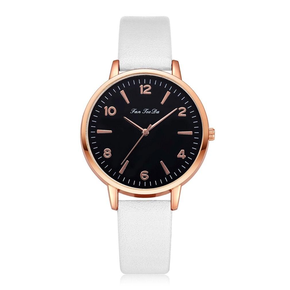 Classic Black Dial Fashion Women Shape Quartz Wristwatch Multicolor Color Leather Strap Watch Band Analog Quartz Reloj Femen