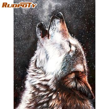 RUOPOTY 60x75cm Oil Painting By Numbers Wolf Roar Animal Paints By Number Diy Framed Home Wall Decor Artcraft Picture DIY Gift