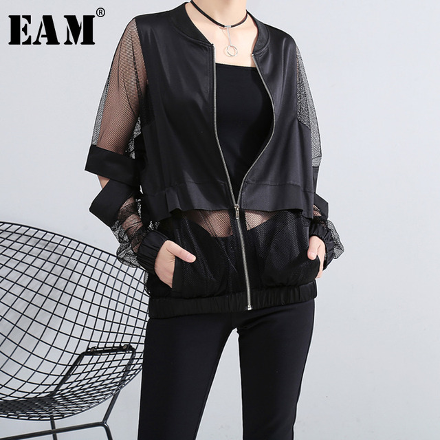 [EAM] Loose Fit Perspective Big Size Hollow Out Jacket New Stand Collar Long Sleeve Women Coat Fashion Tide Spring 2021 JF73401 1