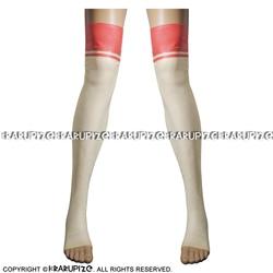 Прозрачные с красной отделкой сверху сексуальные длинные латексные чулки с открытыми ногами Резиновые чулки до бедра WZ-0032