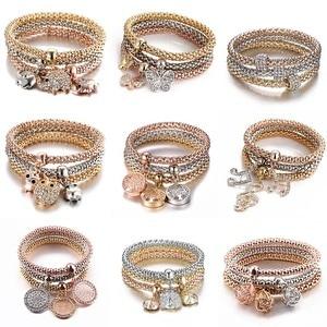 New 3Pcs/Set Zircon Gold Charm Bracelet Elastic Corn Fashion Crystal Bracelet Bangles Women Jewelry DIY Fine Party Gift(China)