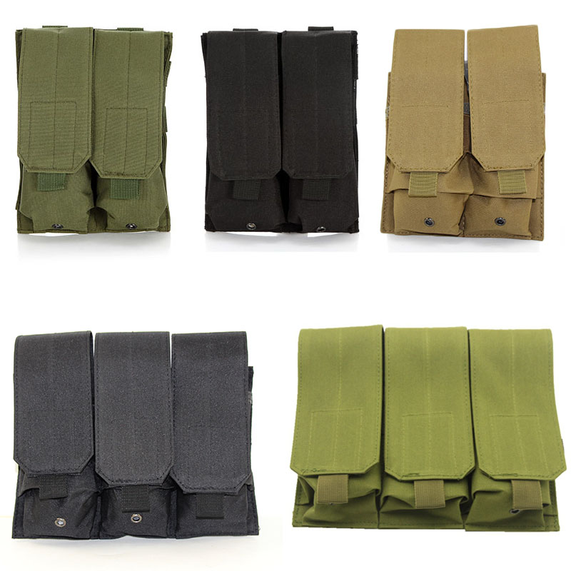 Tactical Molle Double Triple Magazine Pouch For M4 M16 5.56 .223 AK AR15 Airsoft Pistol Rifle Mag Pouch Case Hunting Accessories