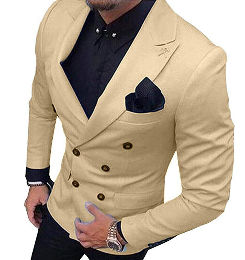 2020 New Champagne Men's Blazer Suit Jacket 1 Pieces Double-Breasted Notch Lapel Blazer Jacket For Weeding Party (Only Jacket)