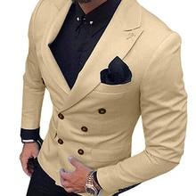 2020 New Champagne Men's Blazer Suit Jacket 1 Pieces Double-Breasted Notch Lapel