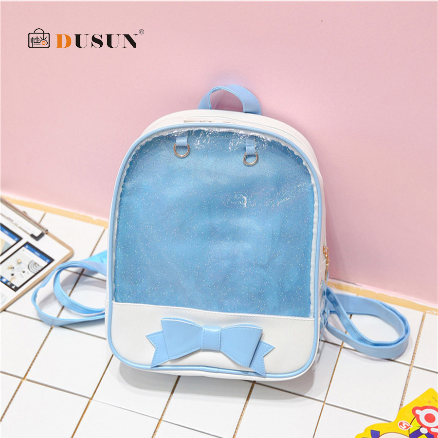 Clear Transparent Women Backpack Cute Bow Ita Bags For School Mini Pink Black Schoolbags For Teenage Fashion Girls Bookbag 2018 image