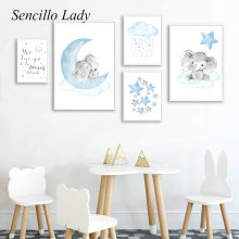 Blue Elephant Moon Nursery Quotes Art Painting Child Poser Animal Canvas Print Wall Picture Baby Boy Kid Bedroom Decoration