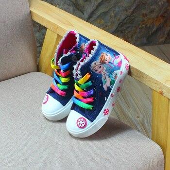 Scarpe Per Bambini Per Le Ragazze Scarpe Da Ginnastica Jeans Di Alta Bambini Scarpe Di Tela Denim Corsa E Jogging Del Bambino Di Sport Scarpe Da Tennis Grande Formato Dei Pattini Delle Ragazze 25 -37