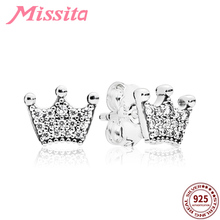MISSITA 925 Sterling Silver Exquisite Crown Earrings for Women with Clear CZ Wedding Silver Jewelry Brand Stud Earrings Gift missita 925 sterling silver rose gold star earrings with cz crystal for women silver jewelry brand stud earrings party gift
