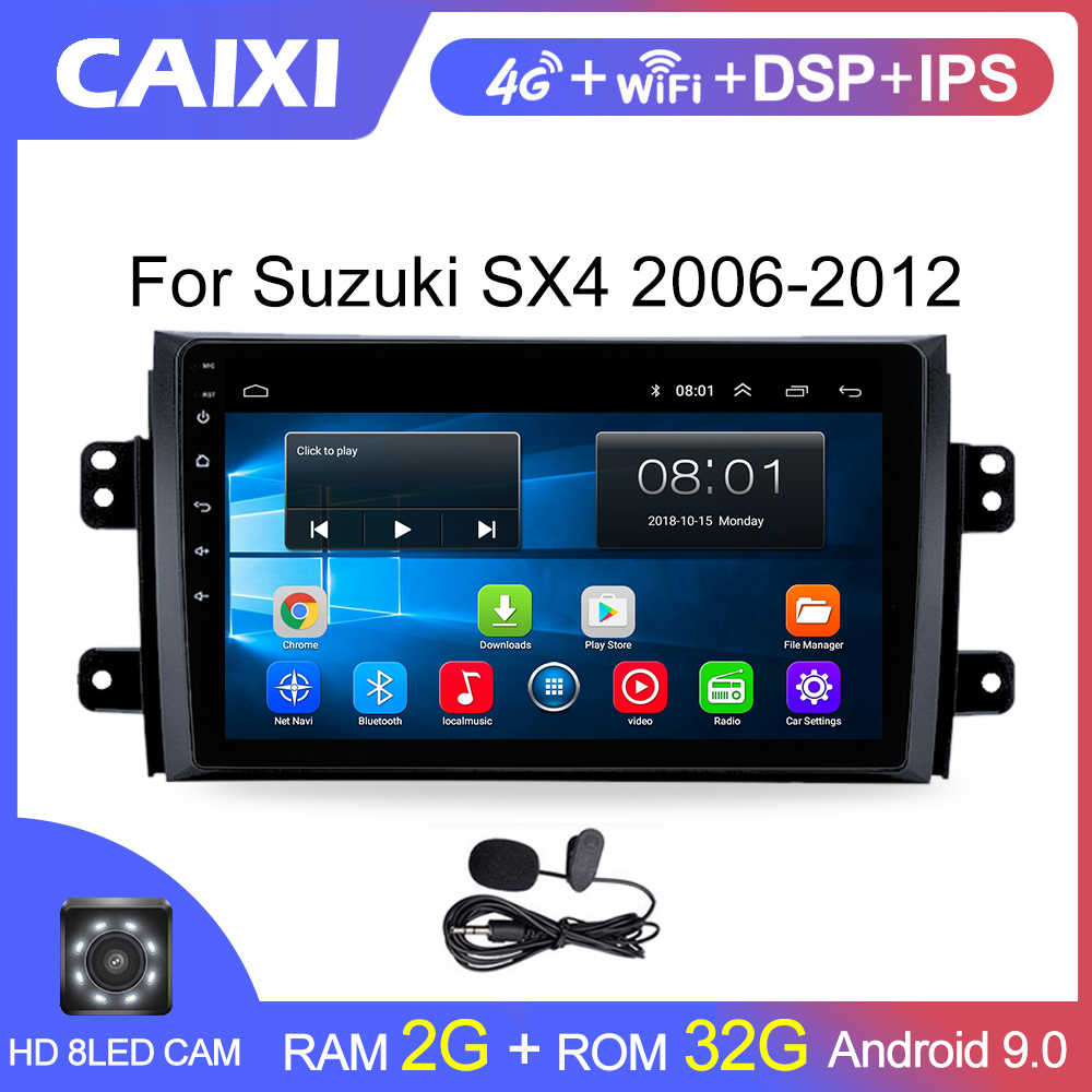 Caixi Mobil Android 9.0 2Din Radio Multimedia Player untuk Suzuki SX4 2006 2007 - 2009 2010 2011 2012 2013 Mobil android GPS Player