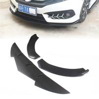 3 Pcs Universal Front Bumper Lip Spoiler Body Kit Thickening Matte Black For Honda For Civic For Benz