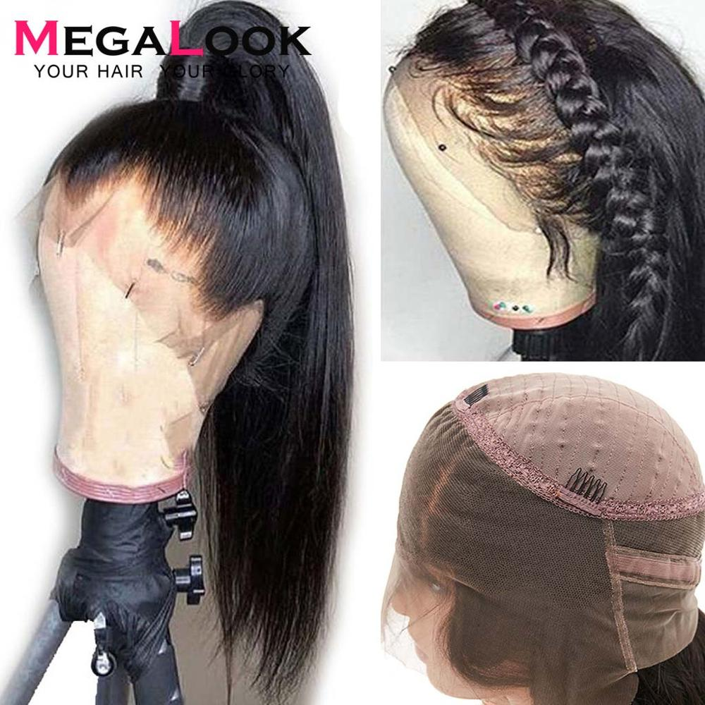 360 Lace Frontal Wig Straight Human Hair Brazilian Lace Frontal  Wig pre Plucked With Baby Hair for Women Megalook Remy 360 wigs lace wig
