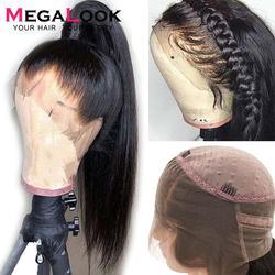 360 spitze Frontal Perücke Gerade Menschenhaar Brasilianische Spitze Frontal Perücke pre Gezupft Mit Baby Haar für Frauen Megalook Remy 360 perücken