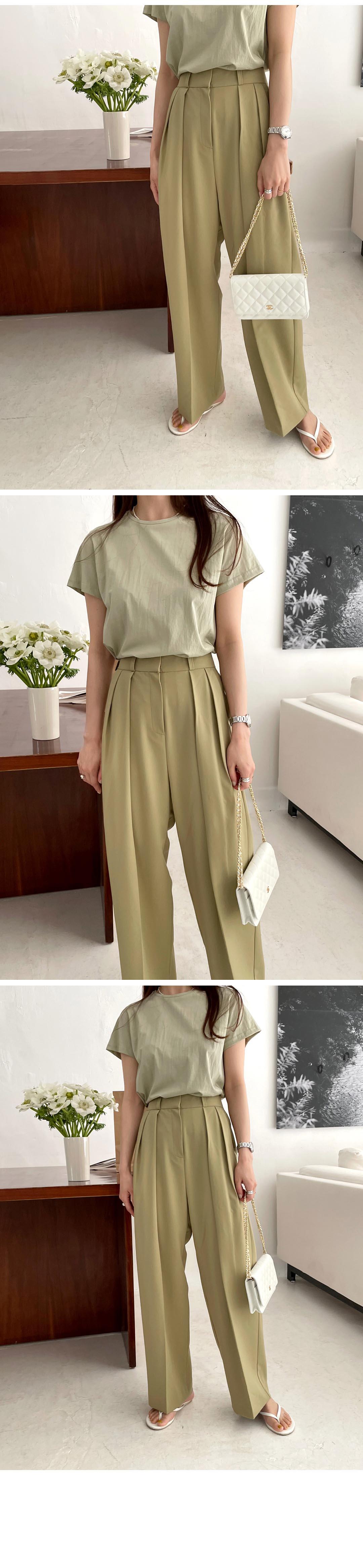 H7041b2e5e5754a4cb368ac86e92970383 - Summer Korean High Waist Loose Folds Wide Leg Solid Suit Pants