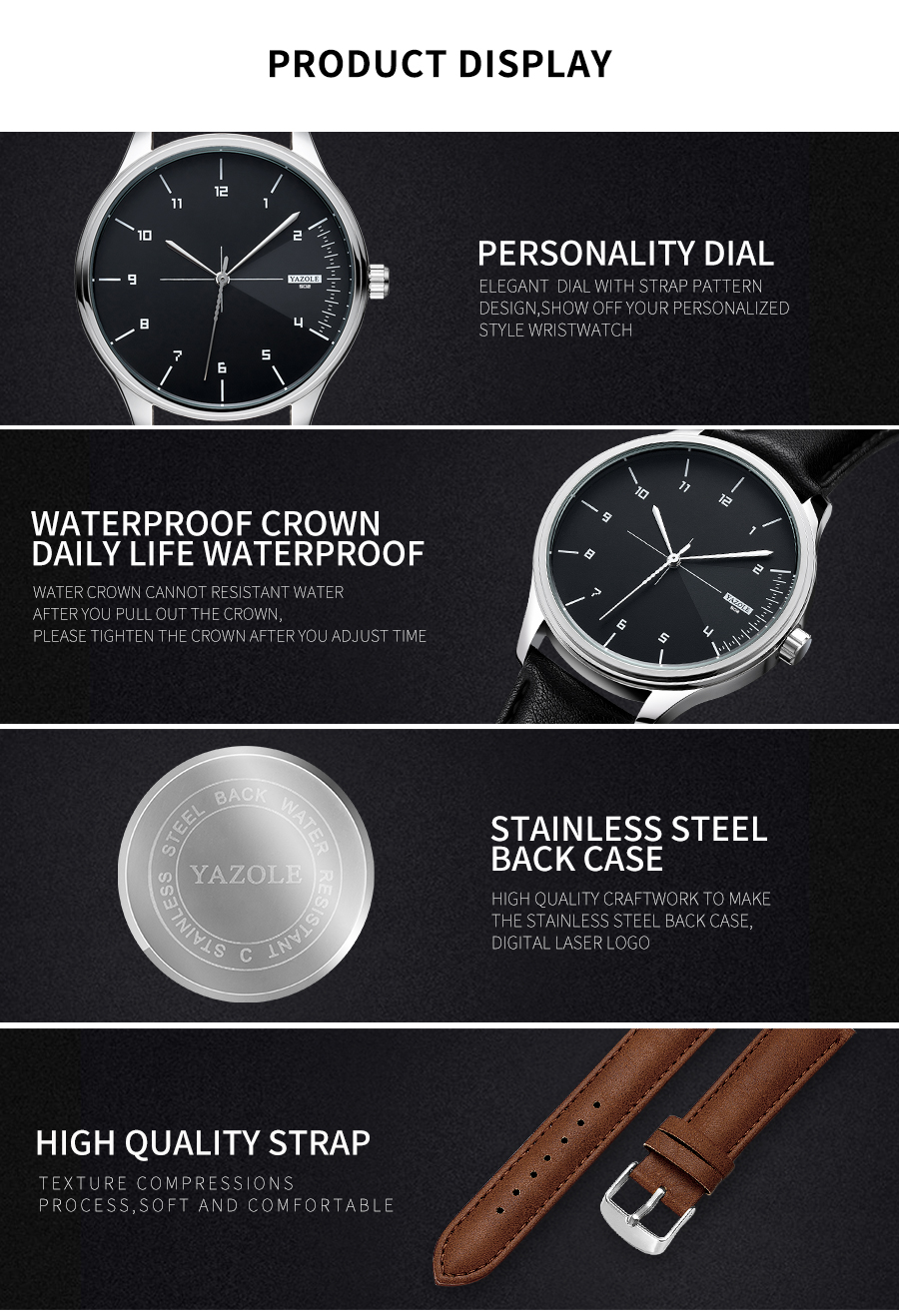 Yazole Quartz Mens Watches