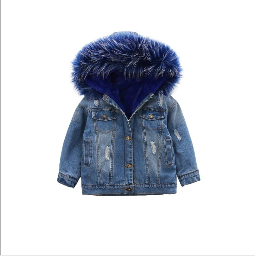 2019 winter baby girls denim jackets plus velvet fur warm coats children outerwear hooded thicker tops kids infant girls ws1153