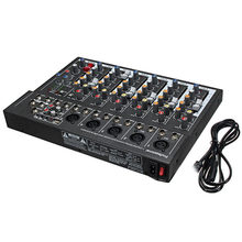 AABB-7 Channel Digital Microphone Sound Mixer Console 48V Phantom Power Professional Karaoke Audio Mixer Amplifier with USB EU P(China)