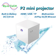 ByJoTech P2 แบบพกพาโปรเจคเตอร์ DLP HD 1080P โฮมเธียเตอร์ MINI Proyector Vide สนับสนุนสาย HDMI USB Movie beamer