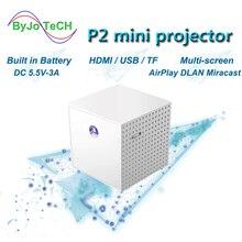 ByJoTech P2 휴대용 프로젝터 DLP HD 1080P 홈 시어터 미니 Proyector Vide 지원 라인 멀티 스크린 HDMI USB 영화 비머