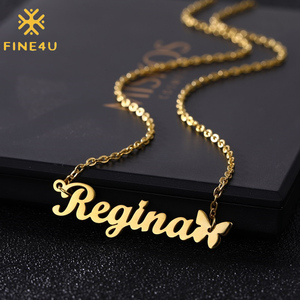 FINE4U N578 Personalized Custom Name Necklace Script Initial Nameplate Necklace Jewelry for Girls Womens Birthday Gift