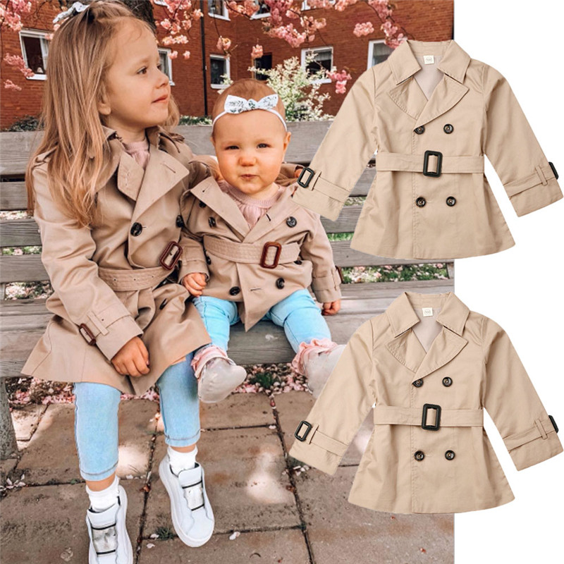 Girls Jacket Children's Double-breasted Lapel Trench Long Sleeve Coat Kids Winter Trench With Belt Casual Slim Fit Outerwear