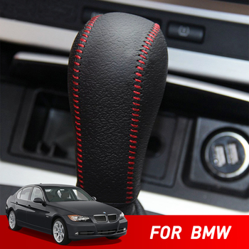 Car Styling for BMW E60 E90 X3 X5 Z4 6 Series Accessories Leather Car Gear Head Shift Knob Cover for BMW E60 E90 X3 X5 6 Series image