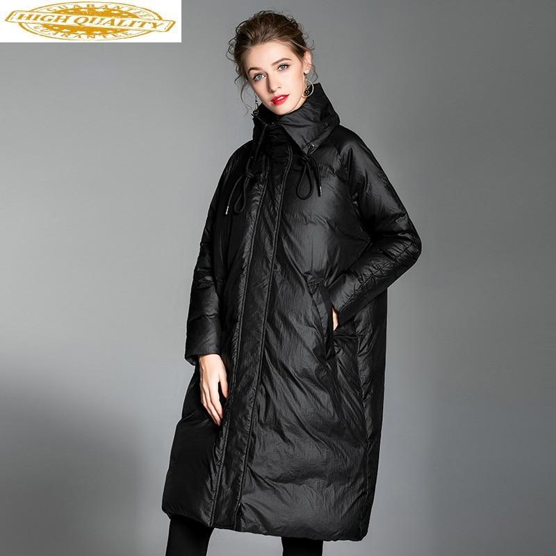 Women's Down Jacket Long Winter Coat Women Korean Loose Puffer Jacket Warm Duck Down Woman Coats Parka 2020 6002 KJ2789