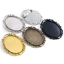 Nueva moda 5 uds 30x40mm tamaño Interior antiguo bronce dorado plata colores negros broche perforado estilo Base colgante
