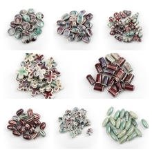 20pcs Various Styles Green Color Special-shaped Ceramic Beads Diy Material For Necklaces Bracelets #1208