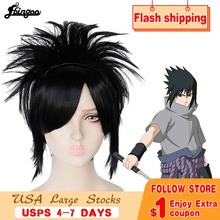 Ebingoo Naruto Uchiha Sasuke Wigs Black Short Straight Shaggy Layered Synthetic Costume Cosplay Wig for Men haikyuu volleyball oikawa tooru short brown shaggy layered cosplay wig cap girls cosplay wig free shipping