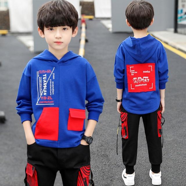 spring autumn kids cotton clothes sets Boys' Leisure Suit Coat + Boys' pants Sportswear Students Trousers 6