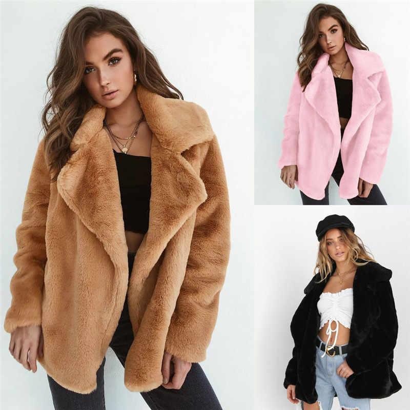 חדש נשים החורף חם לעבות צמר פרווה מעיל מעיל להאריך ימים יותר להנמיך צווארון Cadigan Loose מעילים בתוספת גודל