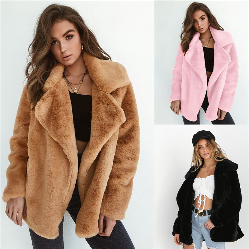 New Women Warm Winter Thicken Fleece Fur Coat Overcoat Outwear Turn Down Collar Cadigan Loose Coats Plus Size