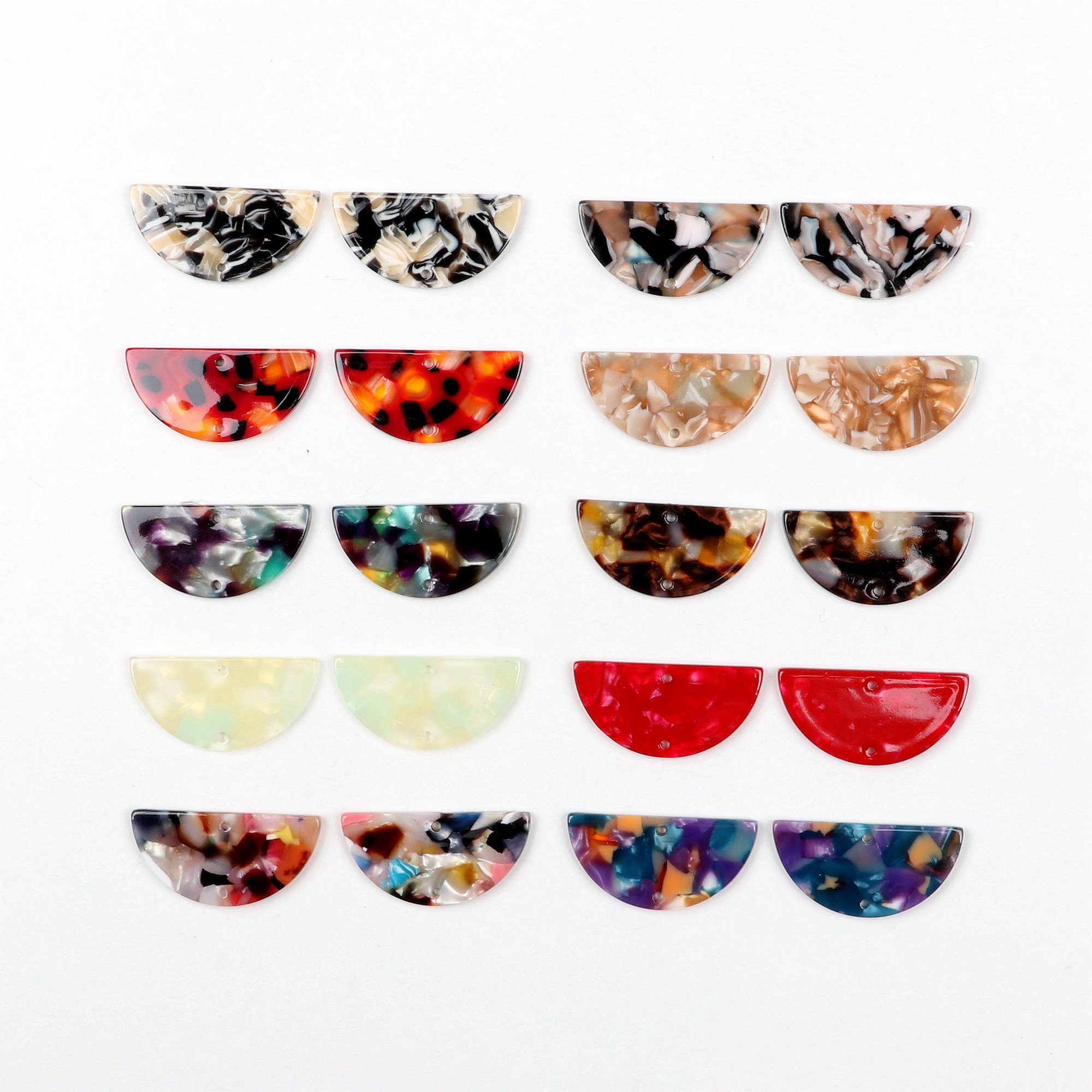 Tortoise Shell Beads,Acetate Acrylic Earring Charms,Half Round Shaped Pendant,Semicircle Pendant,1 Hole,Earring Parts,15x30mm,A344-ACE278C