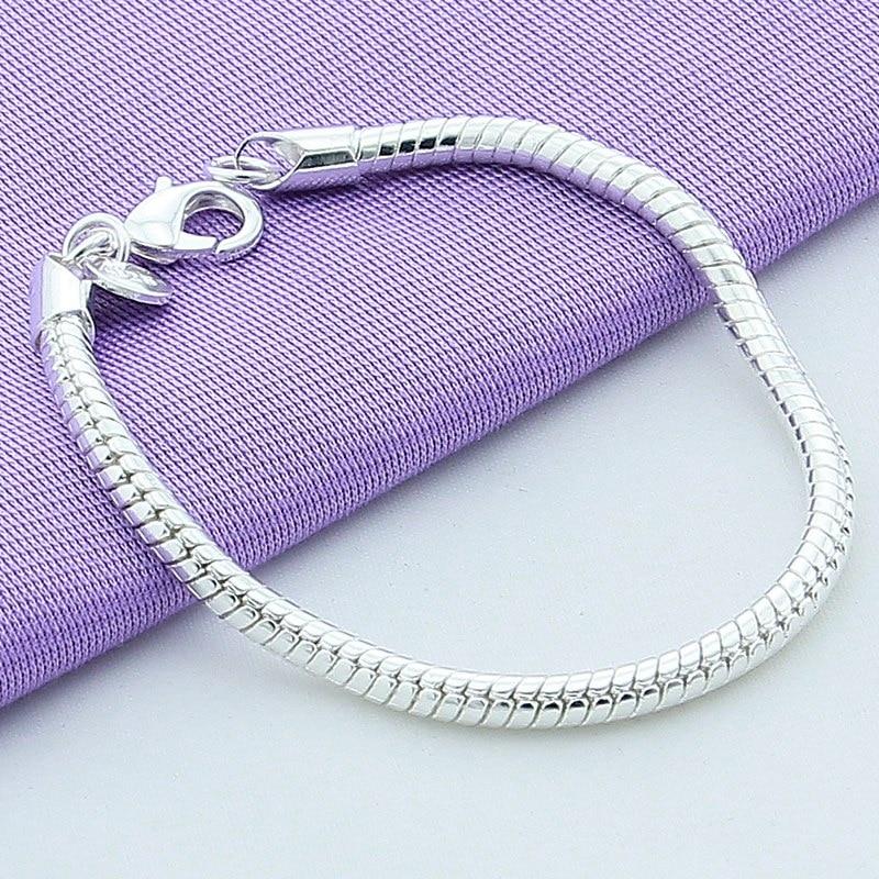 Shitje e nxehtë 925 byzylyk zinxhir gjarpër argjendi 4 mm për - Bizhuteri të modës - Foto 3