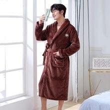 Homens flanela roupas de casa quimono roupão de banho confortavel manter quente pijamas de noite casual macio roupo ntimo