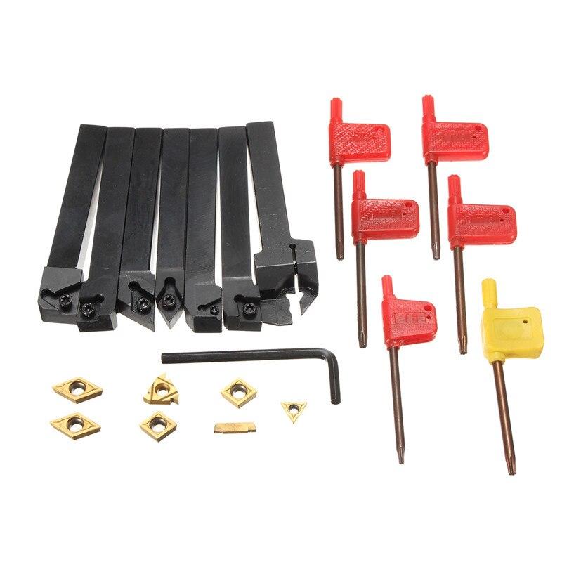 7 pièces ensemble de 12mm CNC tour tournant porte-outil barre d'alésage avec DCMT TCMT CCMT Insert de coupe avec clé