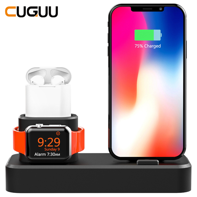 3 in 1 Charging Dock Station For iPhone Airpods Charge Holder For Apple Watch 2 3 4 Silicone Charging Dock Station Stand Holder