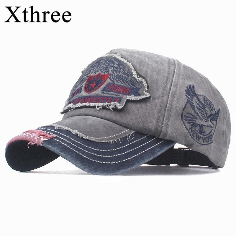 Xthree  Cotton Summer Baseball Cap For Men Snapback Hat Embroidery 01 Bone Cap Gorras Casual Casquette Men Baseball Hat