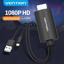 Vention lightning para cabo hdmi 1080p cabo de áudio vídeo para iphone ipad ios telefone para tv projetor hdtv 8 pinos para conversor hdmi