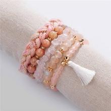 5 PCS/Set ZWPON 2019 Fashion Soft Tassel Natural Stone Beaded Bangles for Women  New Rope Weave Bangle Bracelets Wholesale